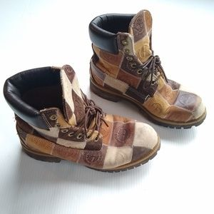 Timberland • vintage patchwork logo hiking boots